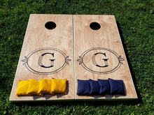 Rustic Monogram Cornhole Boards without Border