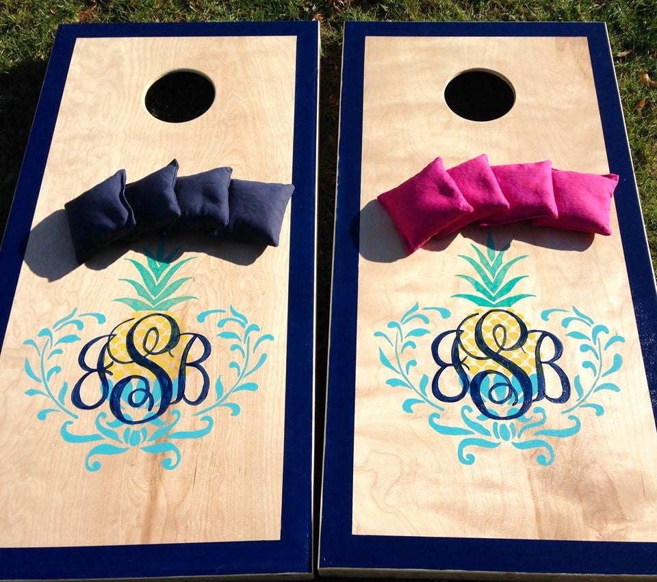 Pineapple Monogram Cornhole Board Set