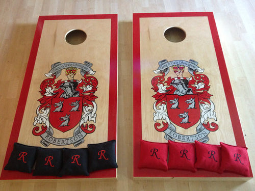 Family Crest & Coat of Arms Cornhole Board Set