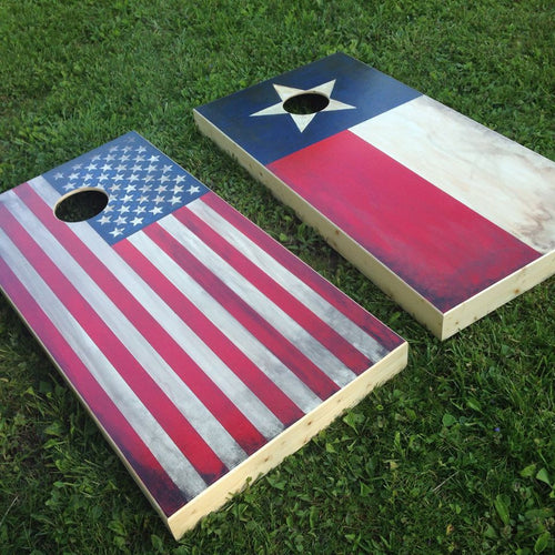Distressed American Flag Board Set with Bags