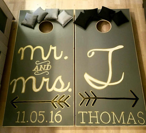 Custom Mr. & Mrs. Cornhole Board Set with Name and Date