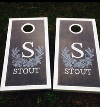 Dark Stained Hops Monogram Cornhole Boards with Border