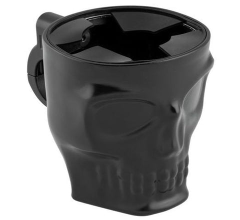 Skull Face Motorcycle Cup Holder Kruzer Kaddy Black Chrome HandleBar Mount NEW
