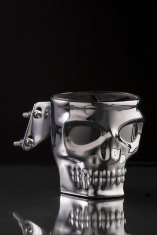 Skull Face Motorcycle Cup Holder Kruzer Kaddy Chrome Brake Clutch Perch Mount NEW