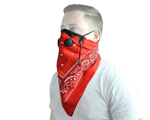 Work Play Pro Series Black BANDANA Filtered Face Mask Adjustable Washable Red