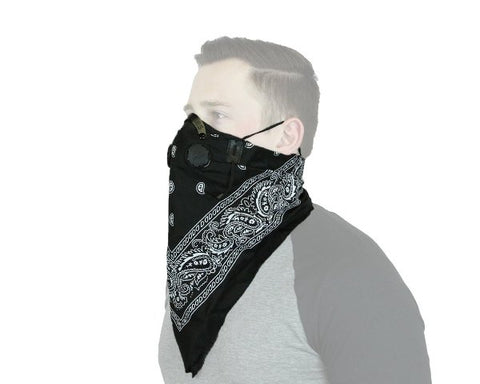 ATV MX Work Play ProSeries Black BANDANA Filtered Face Mask Adjustable Washable