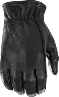Men's Motorcycle Riding Gloves Highway 21 Louie Glove Black Deer Skin Sm-3XL