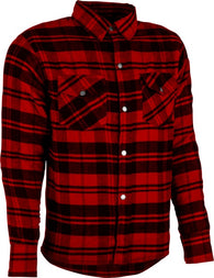 Men's Armored Motorcycle Riding Soft Flannel Long Sleeve Shirt Red Black Med-4XL