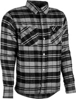 Men's Armored Motorcycle Riding Soft Flannel Long Sleeve Shirt Grey Black M-4XL