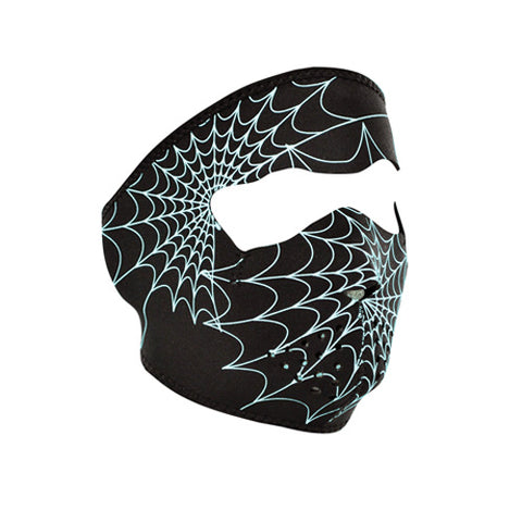 Can-Am Spyder Glow in Dark Spider Web Black Neoprene FACE MASK Reversible Black