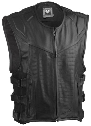 Men's Motorcycle Riding Leather Vest CCW Pocket Sizes S-4XL Highway 21