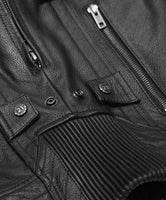 Men's Motorycle CCW Gunner Jacket with Napoleon Pocket S-4XL Grey or Black Leather
