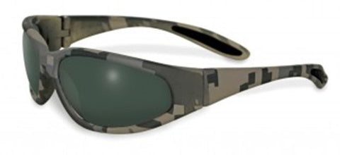 Unbreakable Motorcycle Rider Safety SUNGLASSES Camo Frame Smoke Tint Lenses NEW