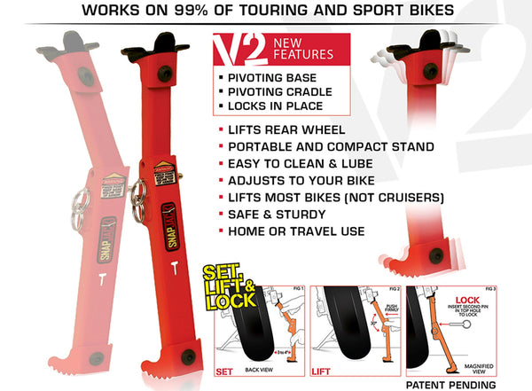 Motorcycle Snapjack V2 Sport Street Enduro Bike Portable Quick Jack Stand NEW
