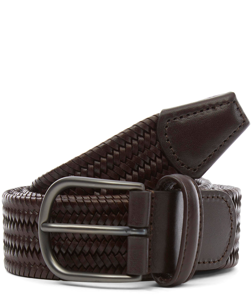 Oxblood Nappa Calf Stretch Leather Belt - Anderson's