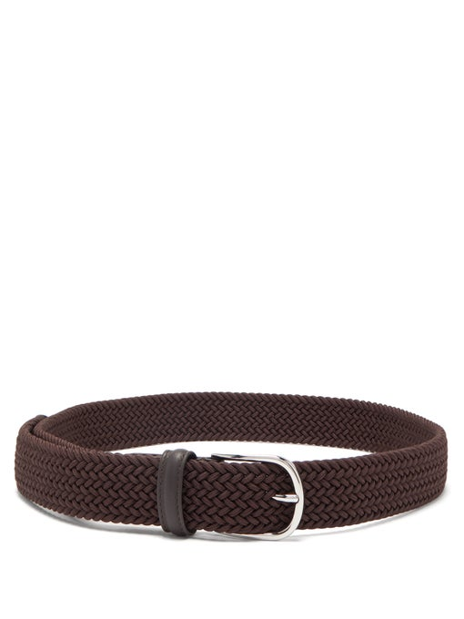 Brown Solid Woven Elastic Belt - Anderson's