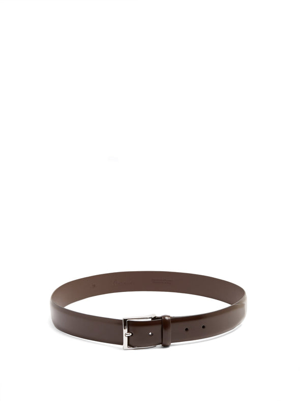 Smooth Dark Brown Nappa Calf Leather Belt - Anderson's