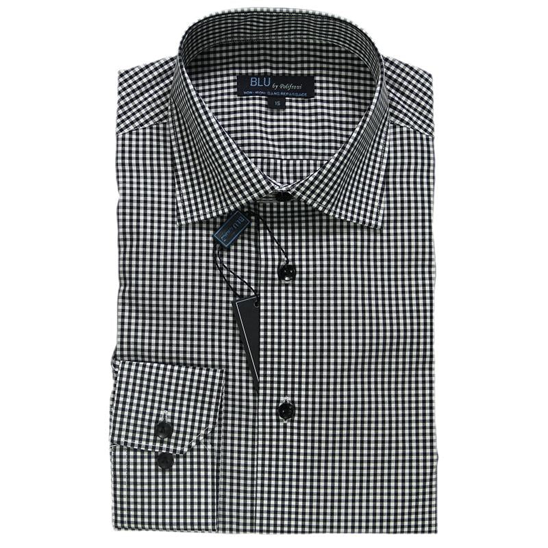 Grey & White Check Dress Shirt • Slim Fit • Non iron