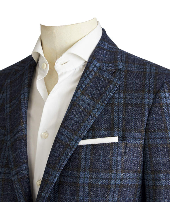 Jack Victor - 1913 Collection Blue Check Wool Silk Classic Fit Sport Coat