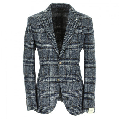 Blue and Gray Window-Pane Unconstructed Sport Coat