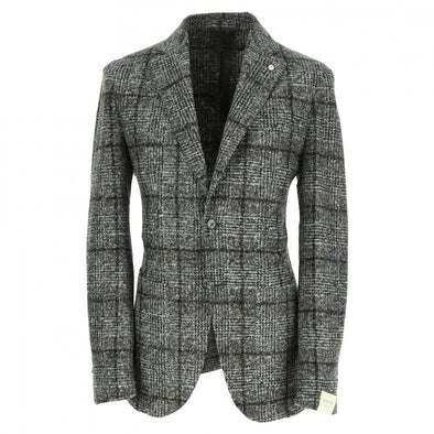 Medium Gray Prince of Wales Unconstructed Sport Coat