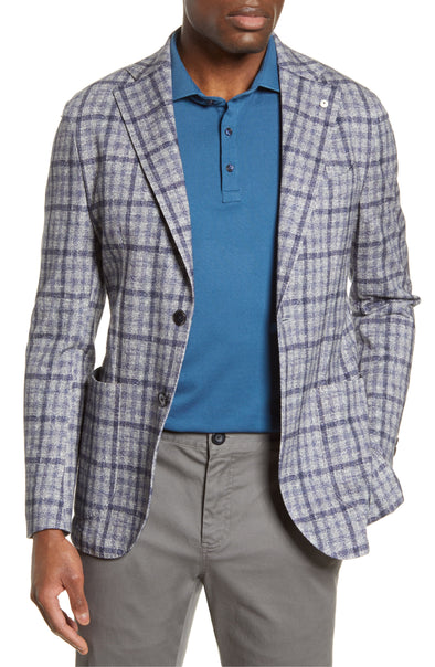 Damier Grey Plaid Jersey Cotton Unconstructed Contemporary Fit Sport Coat