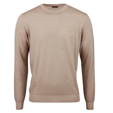 Stenströms - Light Beige Garment Dyed Merino Crew Neck
