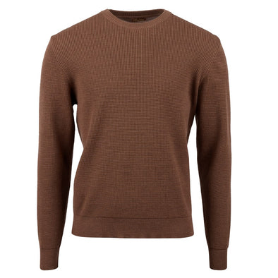 Stenströms - Brown Merino Textured Crew Neck