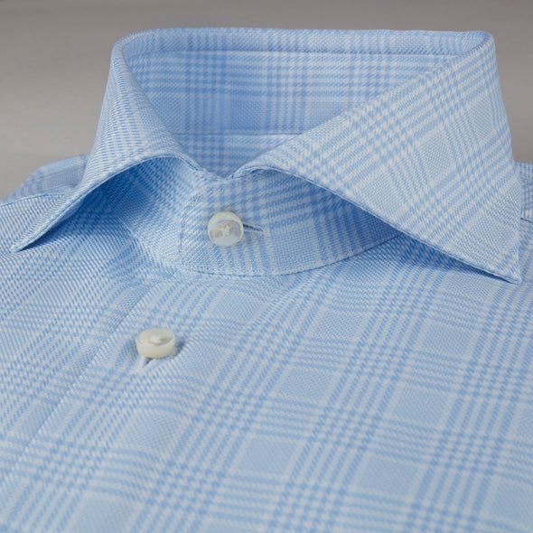 Light Blue Glen Checked Fitted Body Shirt