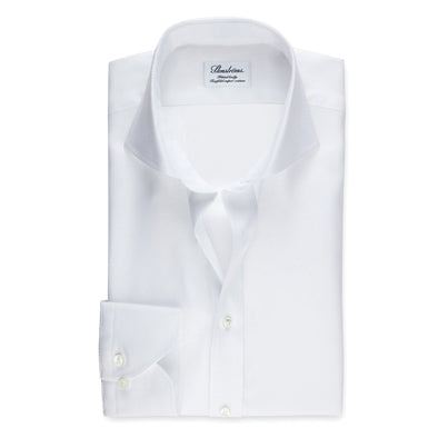 White Fitted Body Shirt In Textured Twill
