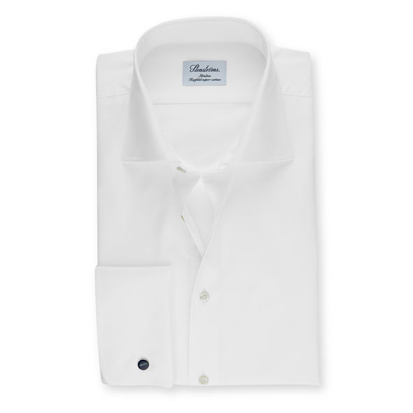 Twill White Fitted Body Shirt With French Cuffs