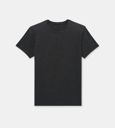 Charcoal Pima Stretch Short Sleeve Crew Neck