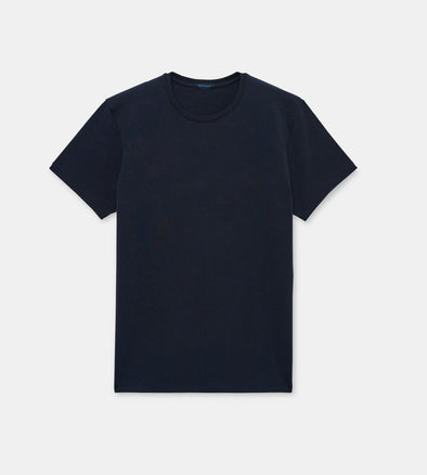 Iconic Midnight Blue Pima Stretch Short Sleeve Crew Neck