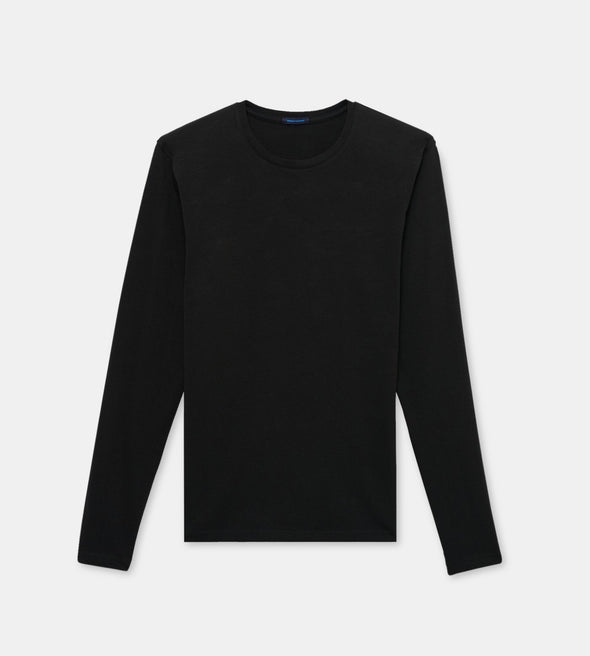 Iconic Black Pima Stretch Long Sleeve T-Shirt