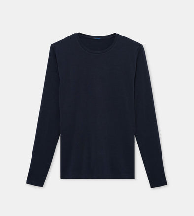 Iconic Midnight Blue Pima Stretch Long Sleeve