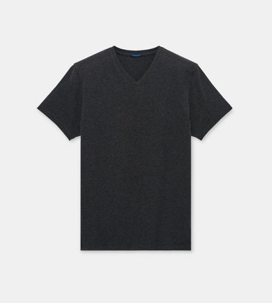 Iconic Charcoal V-Neck Pima Stretch Short Sleeve T-Shirt