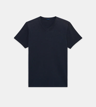 Midnight Blue V-Neck Pima Stretch Short Sleeve T-Shirt