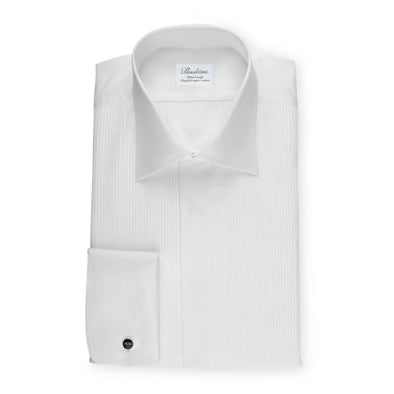 White Fitted Body Tuxedo Shirt With Classic Collar