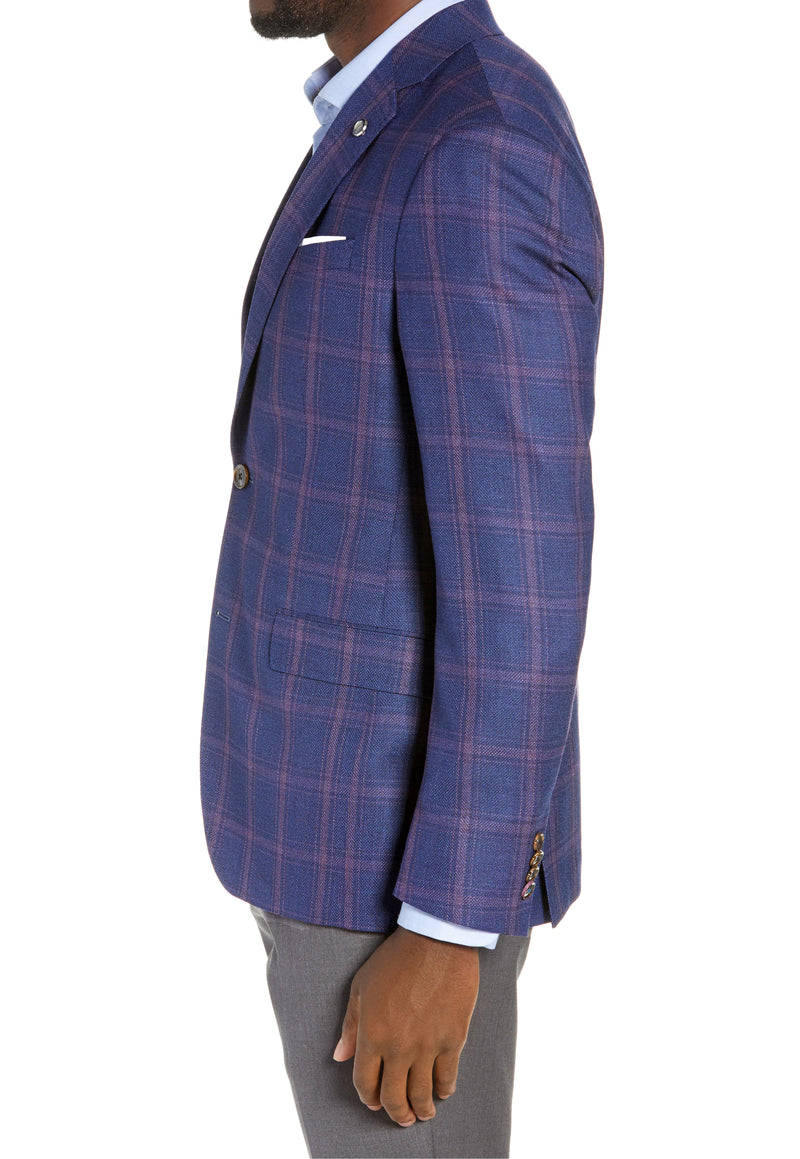 """KONAN"" Azurite Blue • Plaid Sport Coat • Modern Slim Fit"