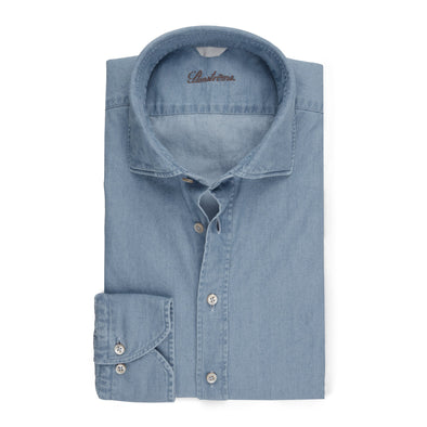 Washed Fitted Body Shirt In Denim - Stenströms