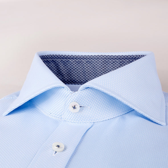 Light Blue Textured Fitted Body Shirt With Contrast