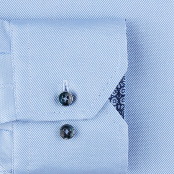 Light Blue Fitted Body Shirt With Contrast - Stenströms
