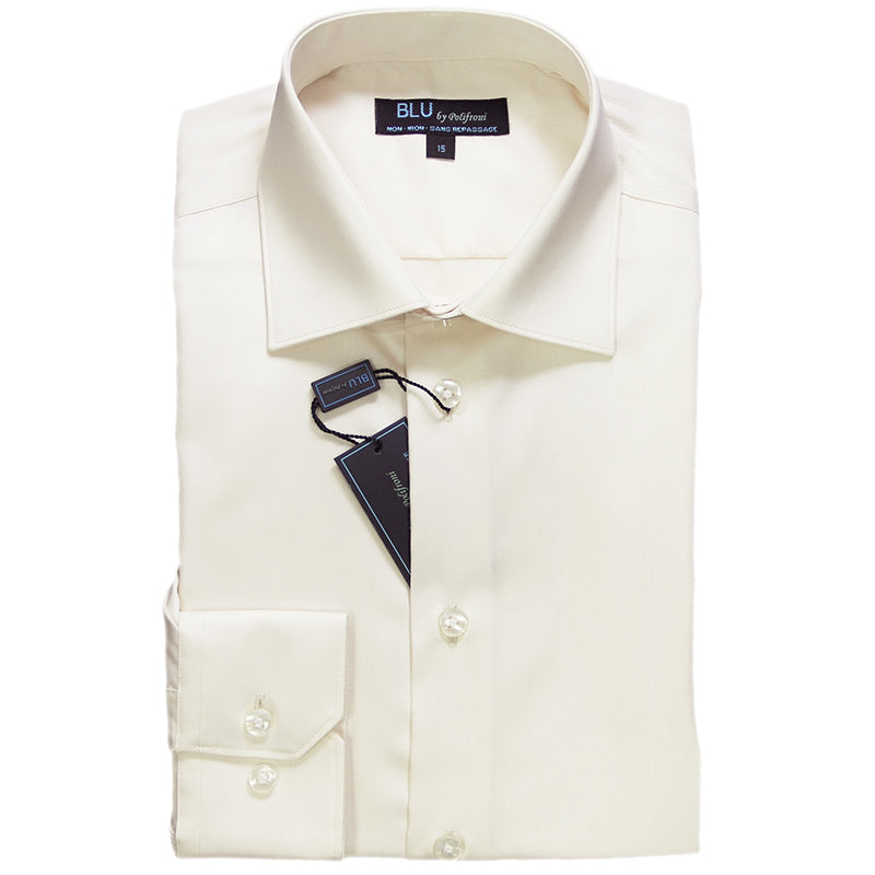 Cream Dress Shirt • Slim Fit • Non-iron