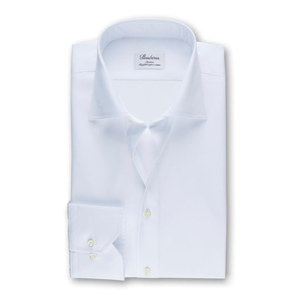 White Slimline Shirt In Superior Twill
