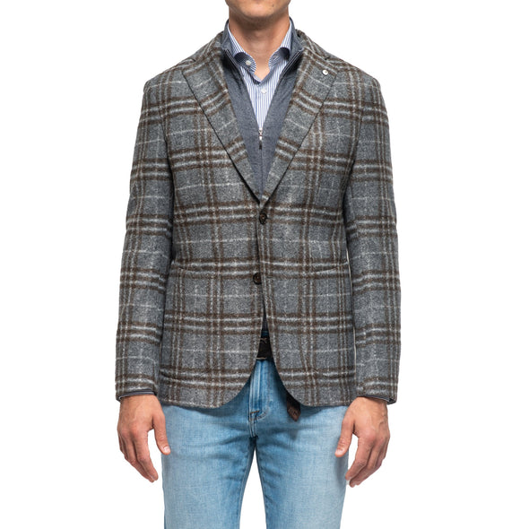 Gray Check Jersey Mélange Unconstructed Sport Coat