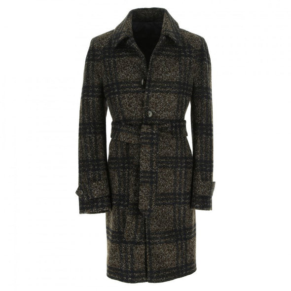Dark Brown Check Tartan Jersey Wool Coat
