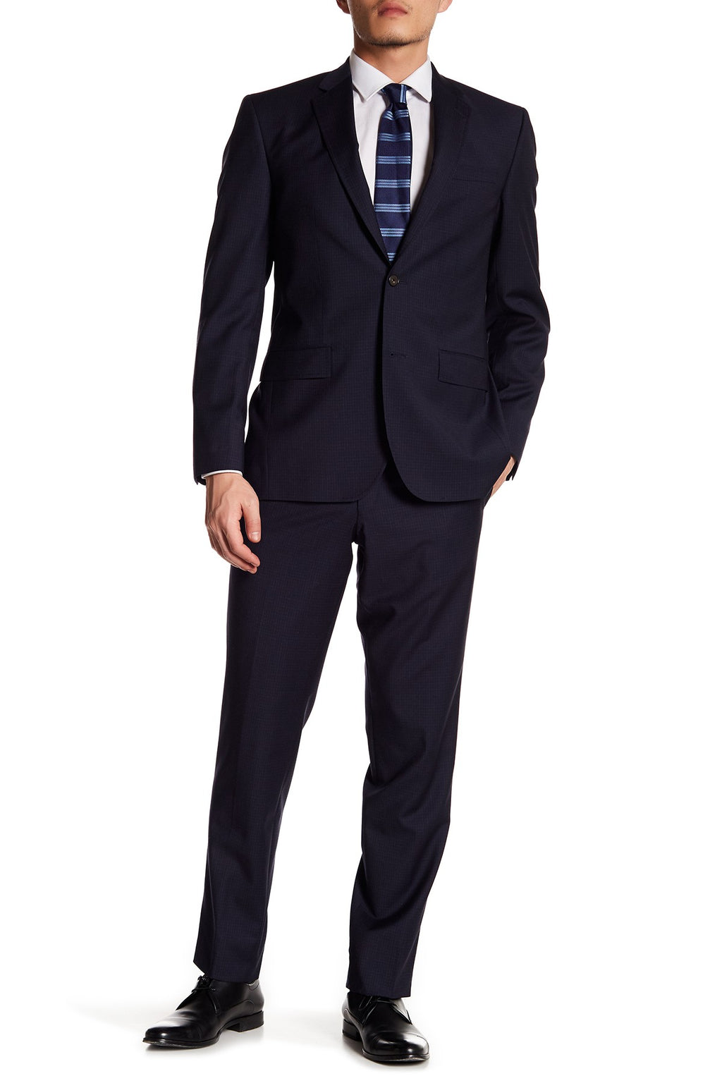 """Jarrow"" Blue Check Stretch • Slim Fit Suit"
