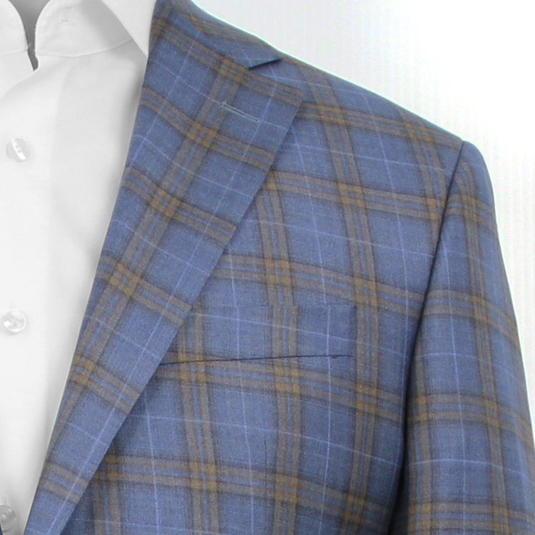 """Esprit"" Mid-Blue • Taupe Window Pane Check • Contemporary Fit Jacket"