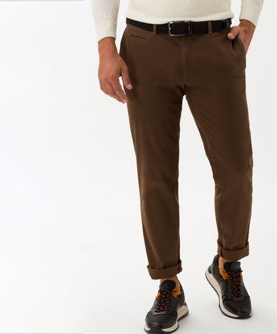 Brown Twill High Flex Stretch Felix Slim Fit Chinos