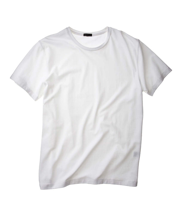 Iconic White Pima Stretch Short Sleeve Crew Neck